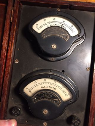 Antique Weston Ammeter Dual Voltmeter In Wood Case Model 267 (steampunk Decor) photo