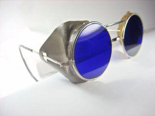 Vintage Safety Glasses.  Near Dark Blue Lenses.  Leather Side Shields. photo