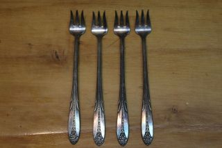 4 National Silver Co A1 1930 Princess Royal Silverplate Cocktail/seafood Forks photo