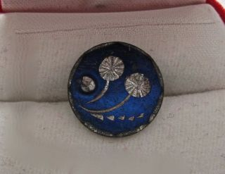 Antique Pewter Bright Cut Button With Faceted Steel Accent Cobalt Blue 9/16 In photo