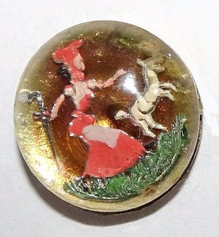 Antique Button Waistcoat Hand Painted Intaglio Design Under Glass Little Bopeep photo