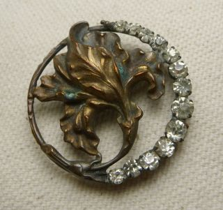 Antique Art Nouveau Iris Pierced Brass Crystal Rhinestone Repousse Button1 1/8