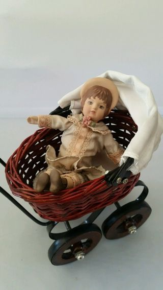 Wicker Doll Buggy (doll & Bear Not) photo