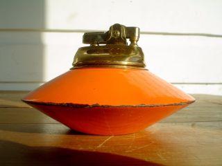 Vintage Orange Atomic Flying Saucer Shaped Table Lighter Mid Century Modern photo