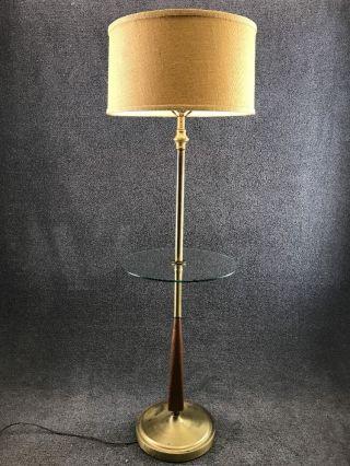 Mid Century Danish Modern Brass & Walnut 3 - Way Floor Lamp W/ Glass End Table photo