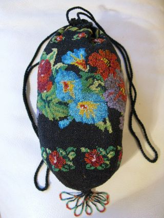 Antique Drawstring Black Brown Red Blue Purple Floral Garden Micro Bead Purse photo