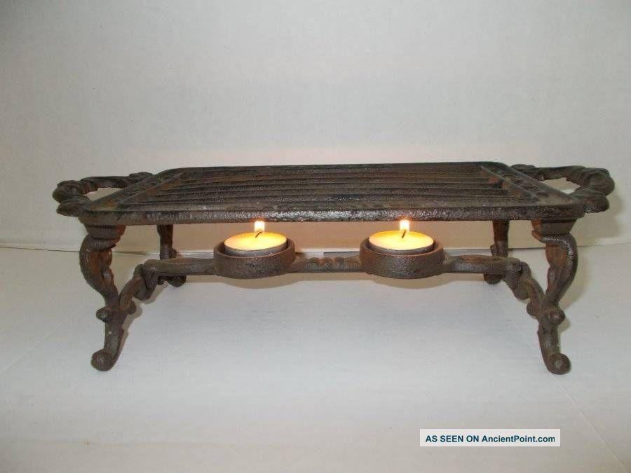 Antique Cast Iron Food Warmer Trivet Double Candle Piece Trivets photo