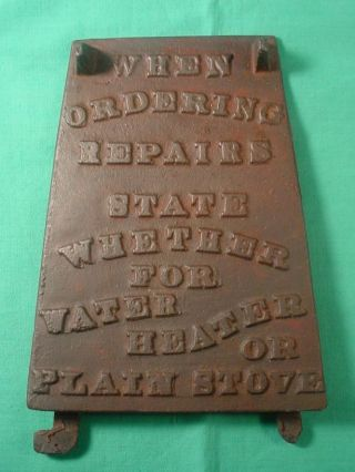 Cast Iron Wood Stove Water Heater Sign When Ordering Repairs State Whether For photo