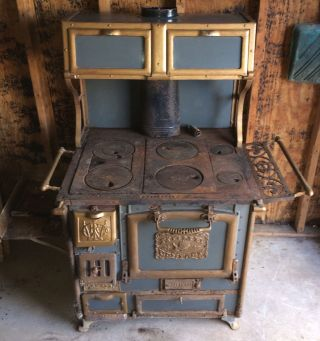 Antique 1908 Home Comfort Wrought Iron Range Stove photo