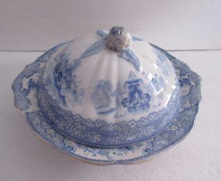 Scottish Covered Serving Bowl,  Triumphal Car Pattern,  J & Mp Bell C.  1850 - 1870 photo
