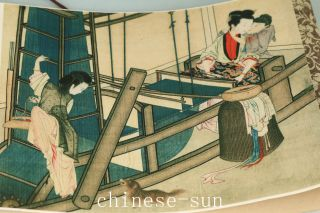Asian Chinese Old Paper Painting Belle Collect Scroll Picture Art Home Decoratio photo