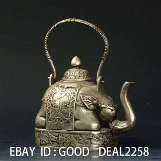 Handwork Silver Copper Elephant Shape Tea Pot W Qianlong Mark photo