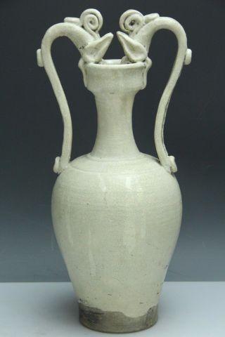 Chinese Antique Pottery White Glaze Fine Crackle Double Dragon Ear Vase Pot D153 photo