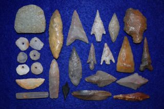 24,  Diverse Sahara Neolithic Relics,  And 1 Paleo Aterian Stemmed Tool photo