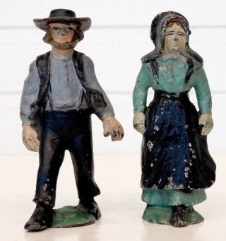 Antique Vintage Hubley Cast - Iron Amish Family Man & Wife Paperweight Figurine photo