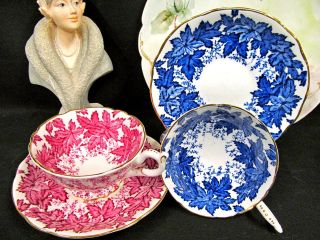 Coalport Tea Cup And Saucer 2 Ivy Pattern Teacup Chintz Design Blue Pink photo