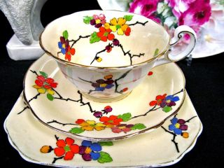 Foley Tea Cup And Saucer Trio Older Pattern Floral Painted Teacup Blossom photo