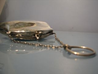 1917 Silver Purse Lether Interior With Suspension Chain & Loop photo
