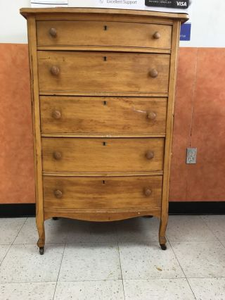 Vintage Atlas Furniture Co Jamestown York Maple Wooden 5 Draw Dresser Ny photo