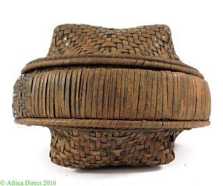 Kuba Basket Handwoven Congo African Art photo