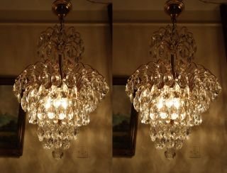 Antique Vintage Waterfall Crystal Chandelier Lamp Light 1960 ' S 16 In. photo