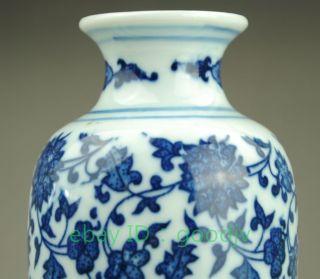 Chinese Blue And White Porcelain Vase Painted Flower Lotus Fruit Qianlong Mark photo