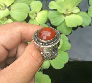 Men Silver Ring Red Agate Engraved Horse Near Eastern Islam Vintage Afghan 11.  5 photo