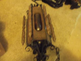 Vintage Large Wrought Iron And Amber Glass Gothic Hanging Light Fixture 1960 ' S? photo