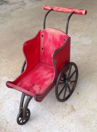 Vintage Santa Sleigh Carriage Buggy Stroller Toy Baby Doll Wood Cast Iron Wheels photo