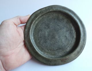 A Perfect Small Pewter Plate From The Early 18th.  Century - Detecting Find. photo