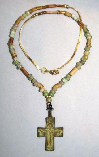 Ancient Medieval Bronze Cross Pendant,  Roman Beads Glass Necklace 20