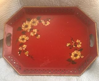 Nashco Vintage Burgundy Red Tole Tray Flowers 20