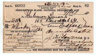 Prohibition Whiskey History Prescription Old 9/10 1920 Pharmacy Doctor Bar Rare photo