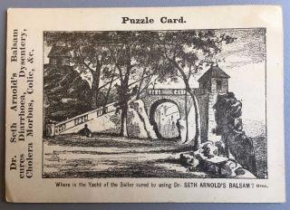 1859 Metamorphic Puzzle Trade Card Dr Seth Arnold ' S Balsam Boston Quack Medicine photo