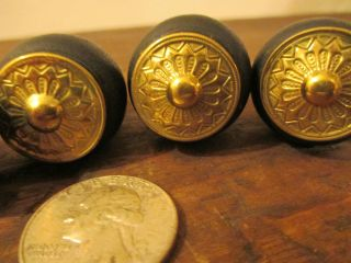 6 Replacement Victorian Wood And Stamped Brass Knobs Drawer Pulls 1970 ' S photo
