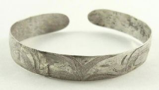 Antique N.  W.  Coast Native American Haida Hammered Coin Silver Eagle Bracelet photo