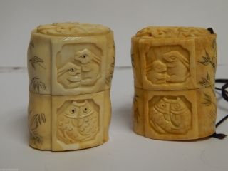 Antique Chinese Scrimshaw Etched,  Carved Bovine Salt & Pepper Shakers photo