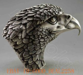 Collectible Decorated Old Handwork Tibet Silver Carve Big Eagle Head Statue photo