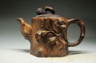 Delicate Chinese Rock Stone Hand Carved Teapot photo