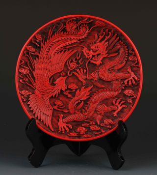 Chinese Delicate Lacquer Hand - Carved Dragon&phoenix Plate G277 photo