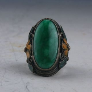 Chinese Collectable Tibet Silver Inlaid Jadeite Jade Hand Carved Ring P0206 photo