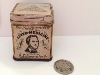 Dr.  M.  A.  Simmons Liver Medicine Tin Advertising Can Powder Vintage Antique Drug photo