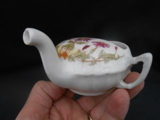 Small Early 20th C.  Purple Daisies Invalid Feeder/feeding Cup Upturned Spout photo