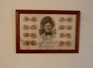 Antique Advertising Optometrist Eyeglass Frame Fitting Chart Globe Optical Co. photo