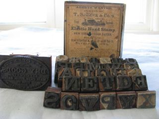 Antique Old Advertising General Store Wood Stamp,  Box,  Alphabet Letters Rare photo