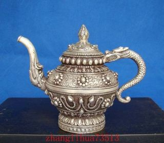 Antique Collectible Handmade Silver Teapot Dragon Chinese 5.  51