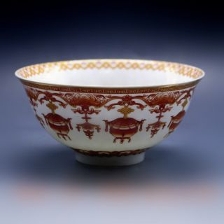 Chinese Porcelain Bowl Of Hand - Painted Wufu W Qing Dynasty Qianlong Mark photo