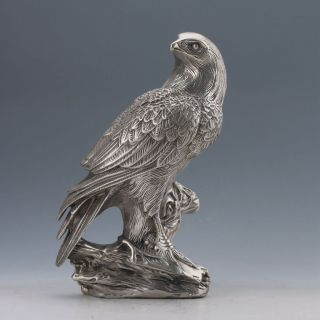 China Cupronickel Handwork Carved Eagle Statue photo