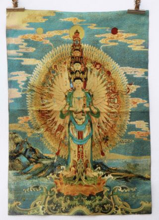 Tibet Collectable Silk Hand Painted Avalokitesvara Painting Thangka R7 photo