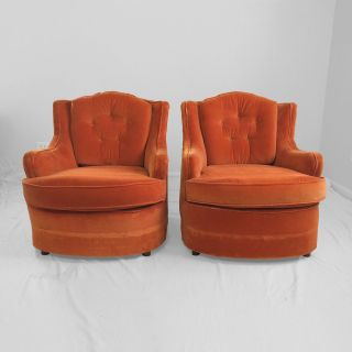 2 Mid Century Modern Art Deco Style Orange Velvet Club Chairs Mod 1970s Vintage photo